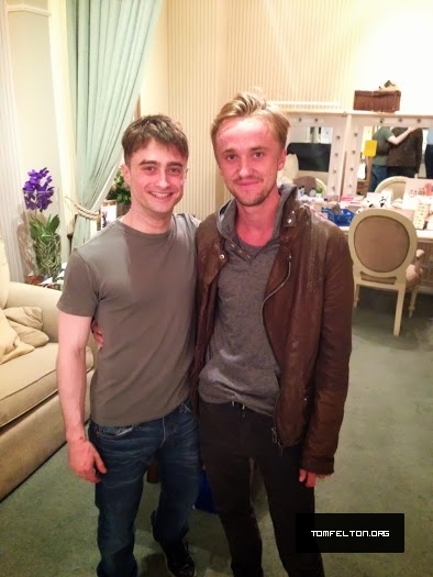 "Tom Felton visits Daniel Radcliffe at ""The Cripple of Inishmaan"" performance"