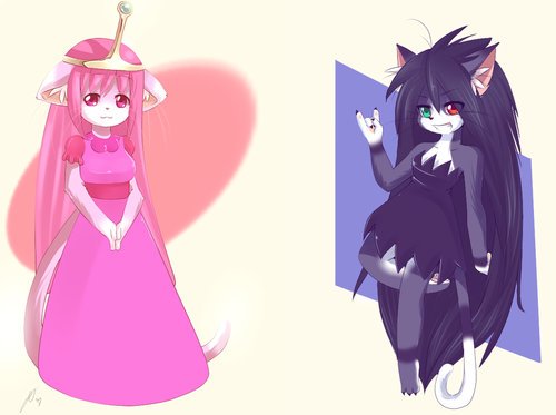 Adventure Time With Finn and Jake wallpaper titled marceline and princess bubblegum
