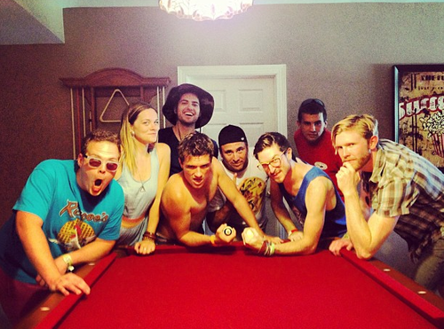 Josh playing pool with Friends