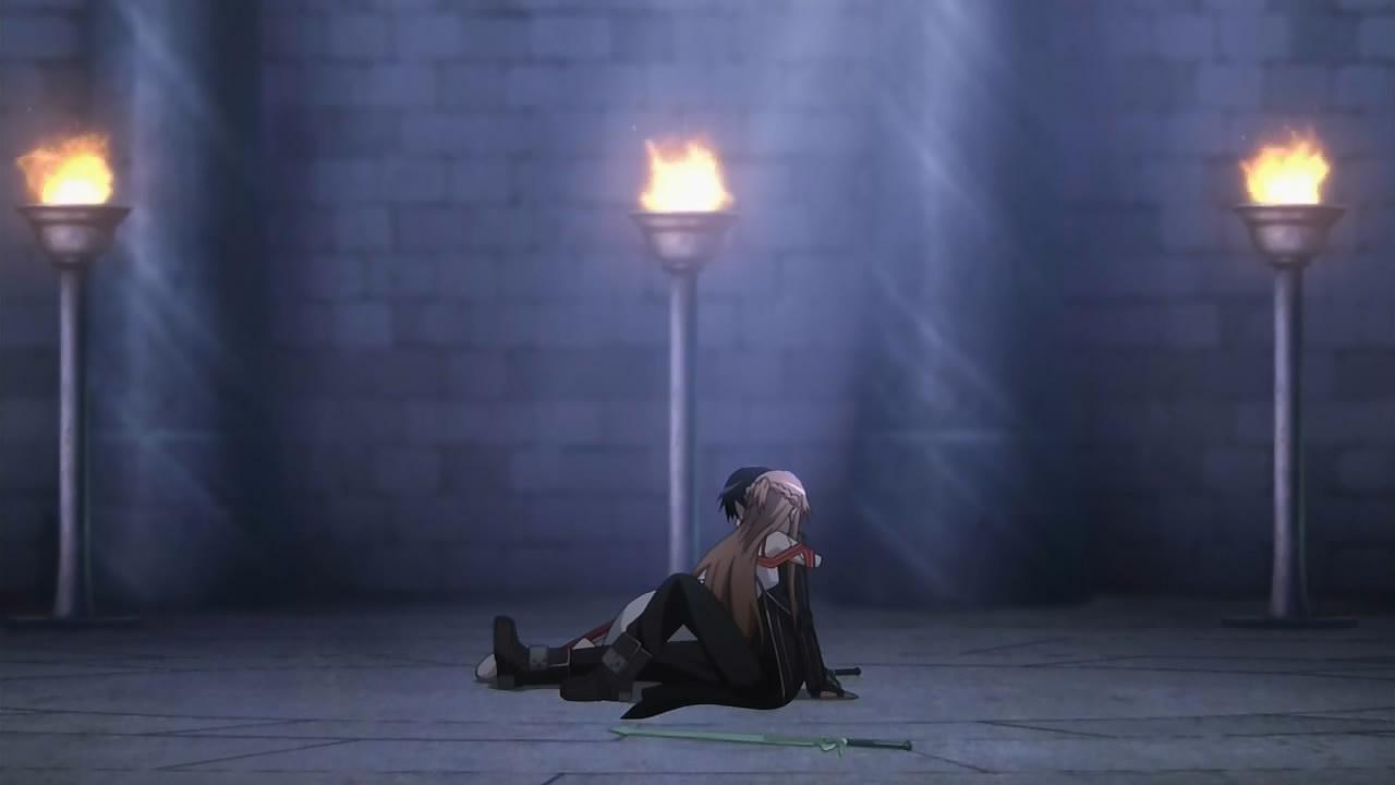 Sword Art Online Hintergrund With A Strasse Entitled Asuna Hugging Kirito Du