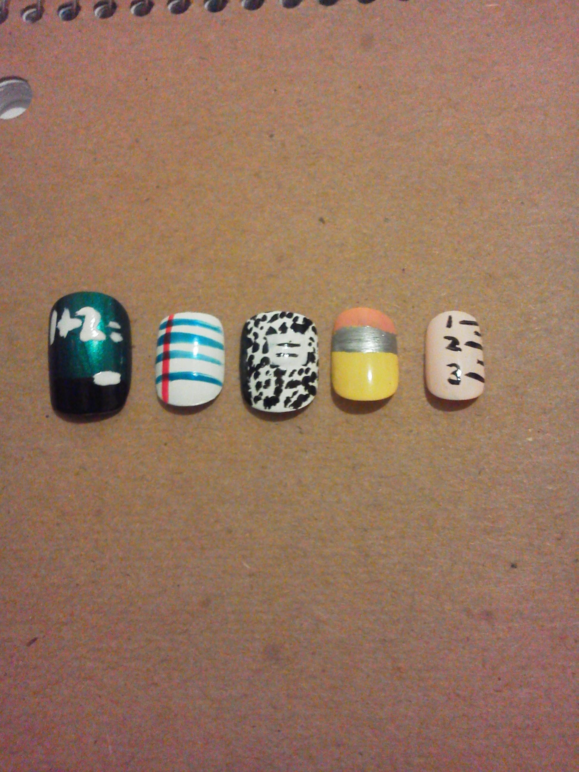 Back to school nail art (no flash