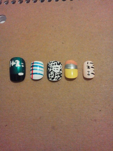 Back to school nail art (no flash