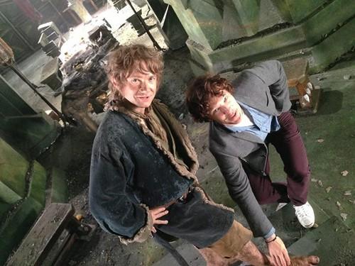 Benedict & Martin on set of The Hobbit