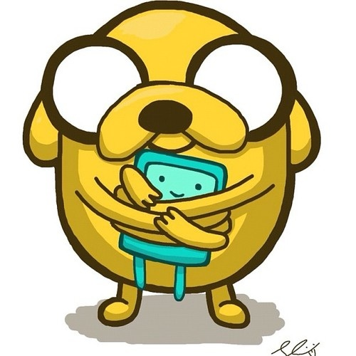 Adventure Time With Finn and Jake wallpaper probably containing anime entitled Chibi Jake and BMO