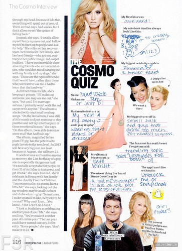Demi Lovato پیپر وال called Demi - Magazine Scans 2013 - 'Cosmopolitan' August 2013