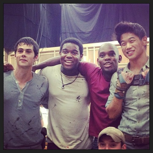 Dylan O'Brien on set of The Maze Runner