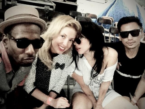 Lady Gaga wallpaper with sunglasses titled Gaga at Pitchfork Music Festival with Tara, Asiel and Freddie (July 21)