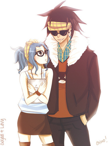 Hipster Gajeel and Levy