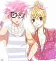 Hipster Natsu and Lucy