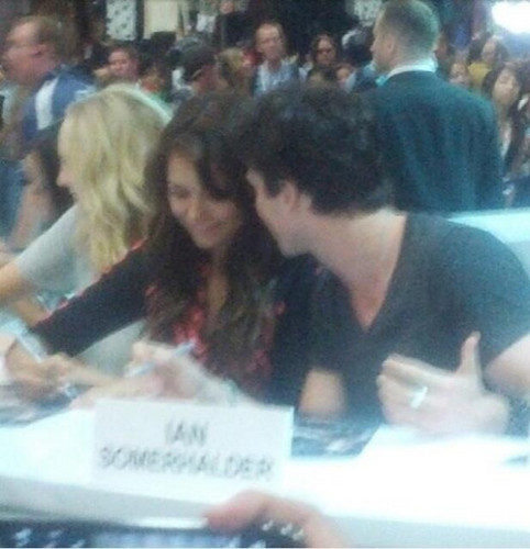 Ian Somerhalder wallpaper possibly with a sign, a brasserie, and a newspaper titled Ian at Comic Con 2013: Booth Signing