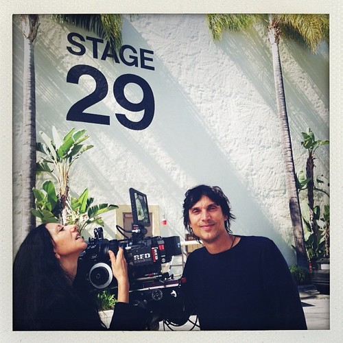Inez and Vinoodh, the directors of the first ARTPOP music video, on the stage where Gaga is filming