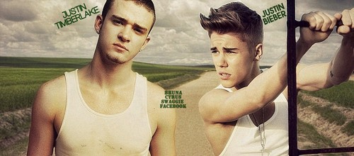 Justin Bieber and Selena Gomez wallpaper possibly containing a hunk, a singlet, and a dumbbell called Justin Bieber & Justin Timberlake - Cover's Facebook