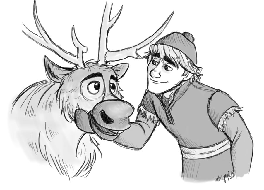 Frozen Coloring Pages Kristoff : Kristoff and sven frozen fan art  fanpop