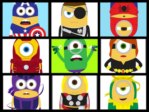 Despicable Me Minions wallpaper with a slot, a slot machine, and a stained glass window called Marvel Minions