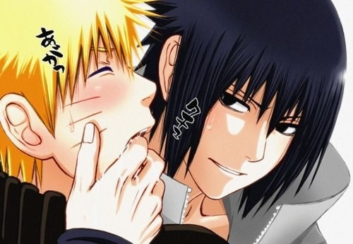 Yaoi wallpaper probably containing anime titled Naruto and Sasuke (Naruto)