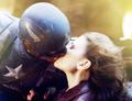 Peggy Carter kisses Steve Rogers