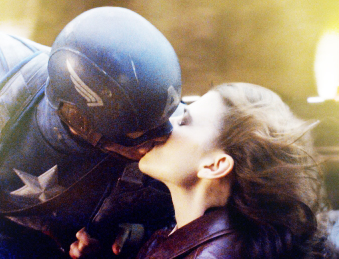 Peggy Carter kisses Steve Rogers