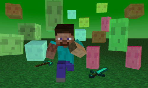 Minecraft wallpaper entitled The Slime Run!