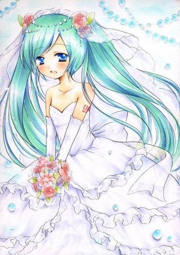 Hatsune Miku Hintergrund titled Wedding
