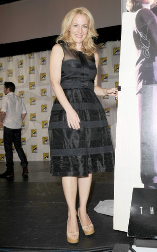 gillian anderson wallpaper possibly with an atlantic herring, a hip boot, and a koktil, koktail dress titled X-Files 20th Ann Panel at San Diego Comic Con 2013