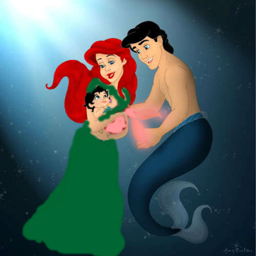human Ariel and merman Eric