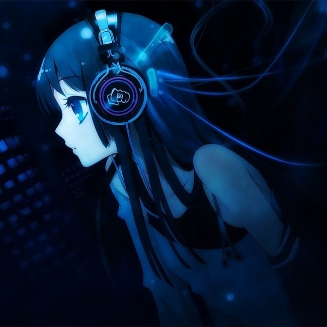 Anime anime person listening to dubstep