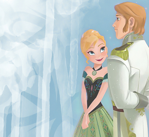 Frozen wallpaper titled Anna in green dress with Hans