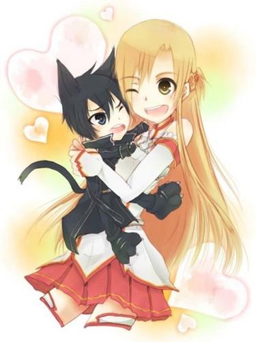 Asuna and nyan-Kazuto