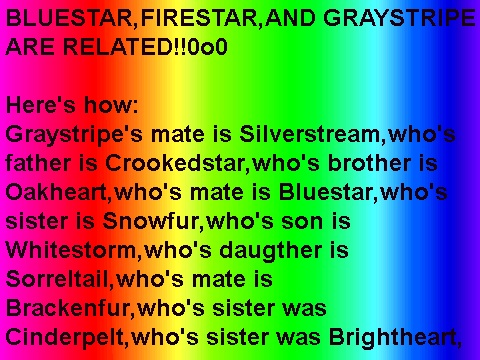 BLUESTAR, FIRESTAR, AND GRAYSTRIPE ARE RELATED :D