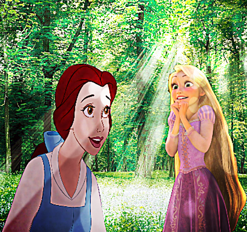 Belle & Rapunzel On A Live Action Background