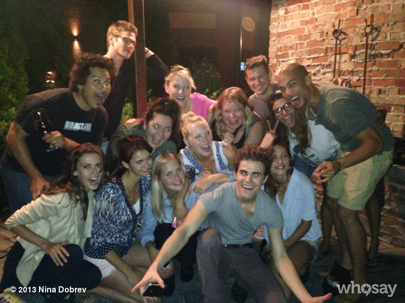 Candice and TVD Cast & Crew celebrating Paul Wesley's Birthday