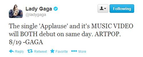 Gaga Announces 'APPLAUSE' 音乐 Video Release 日期
