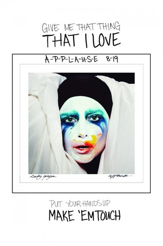 "Gaga's post on LM.com: ""Give me that thing that I love, put your hands up, make 'em touch"""