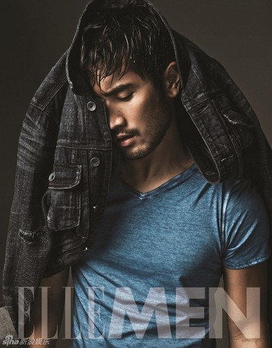 "Godfrey Gao wallpaper possibly with a well dressed person, a hip boot, and an outerwear titled Godfrey for ""Elle Men"""