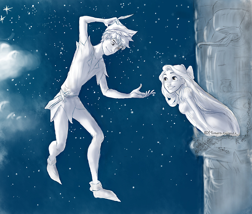 Jack Frost and Rapunzel as Peter Pan and Wendy ♥