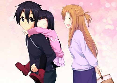 Kirigaya Kazuto (Kirito) wallpaper possibly containing a portrait called Kirito, Asuna and Yui