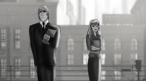 Kristoff and Anna as George and Meg from Paperman
