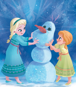 Princess Anna দেওয়ালপত্র titled Little Anna and Elsa