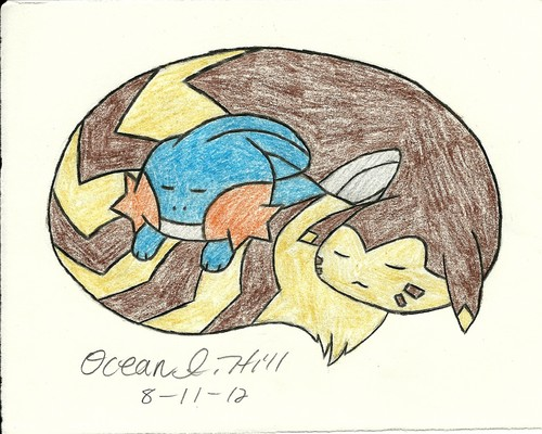 Mudkip and Furret sleeping together c: