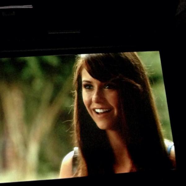 Nina Behind the Scenes of TVD 5x02