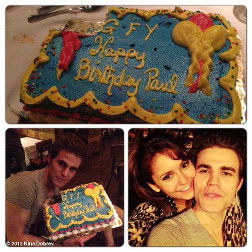 Nina on set of TVD 5x02 celebrating Paul Wesley's birthday