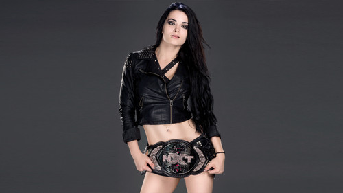 WWE Hintergrund possibly with a playsuit, a well dressed person, and long trousers entitled Paige