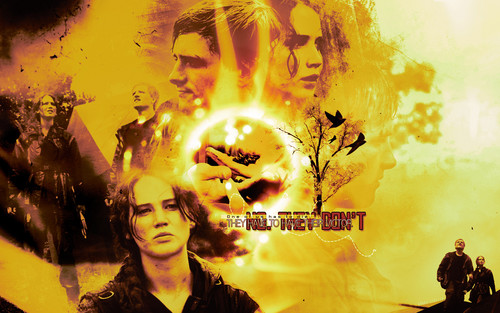 Peeta and Katniss Обои