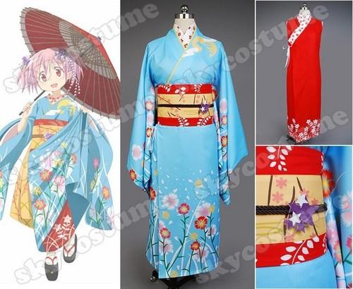 Puella Magi Madoka Magica Kaname Madoka Bayadere Ver کیمونو, kimono Cosplay Costume