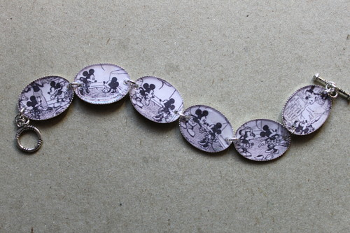 Retro Mickey and Minnie Mouse comic strip bracelet