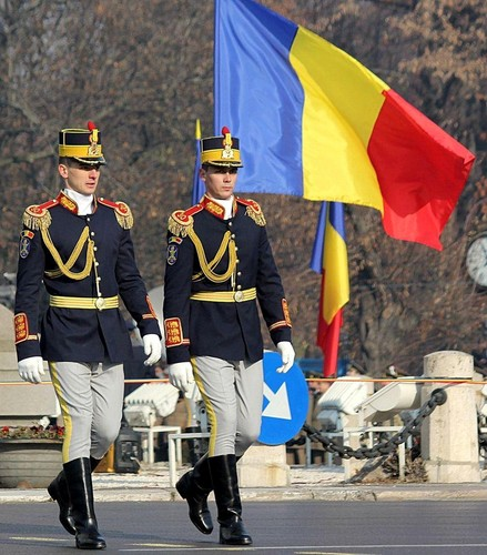 romanian soldiers near flag in Bucharest romanians Romania