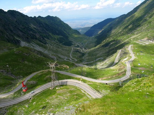 Transfagarasan road cable car Carpathian mountains Romania
