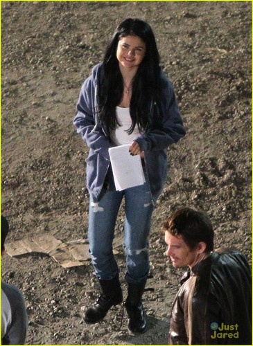 Selena on the set of Getaway