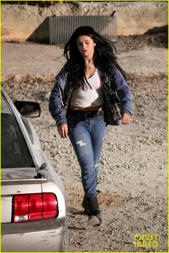 Selena on the set of Getaway