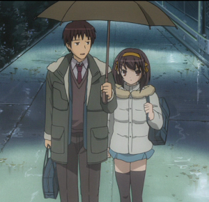 Sharing an umbrella ~